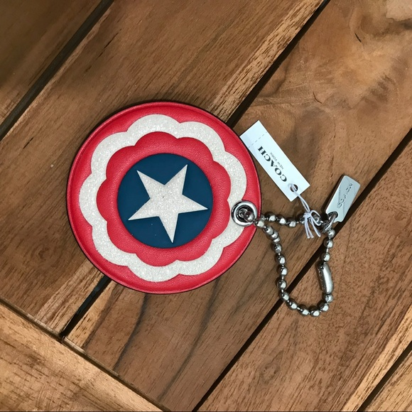 NWT Coach x Marvel Captain America Shield Keychain